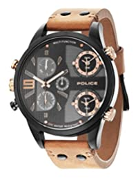 Police Copperhead Men's Wrist Watches, Leather Synthetic Brown Band, Black Dial (PL14374JSB/02)