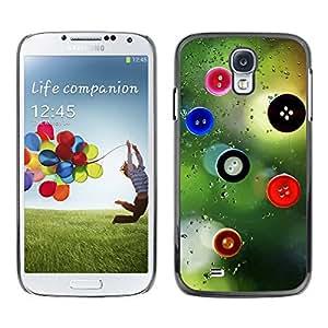 QCASE / Samsung Galaxy S4 I9500 / Botones de arte de diseño vista de la ventana de la moda / Delgado Negro Plástico caso cubierta Shell Armor Funda Case Cover