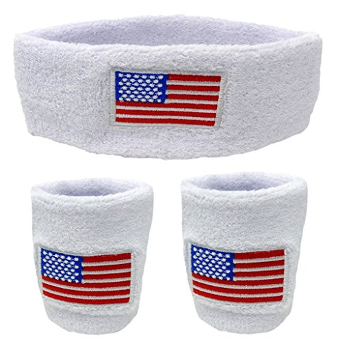 Funny Guy Mugs USA Flag Unisex Sweatband Set (3-Pack: 2 Wristbands with Zipper/Wrist Wallet & 1 Headband) -
