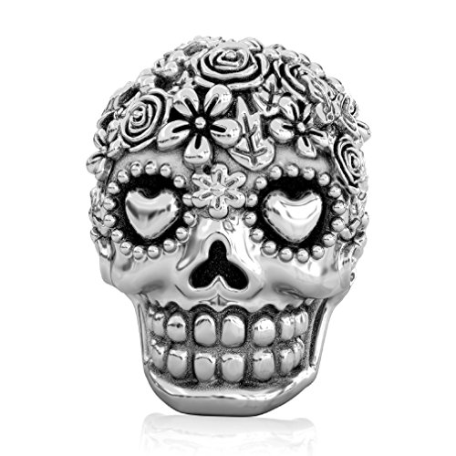 BELLA FASCINI Bouquet Dia de Los Muertos  Skull Bead Fits All Compatible European Charm Bracelets