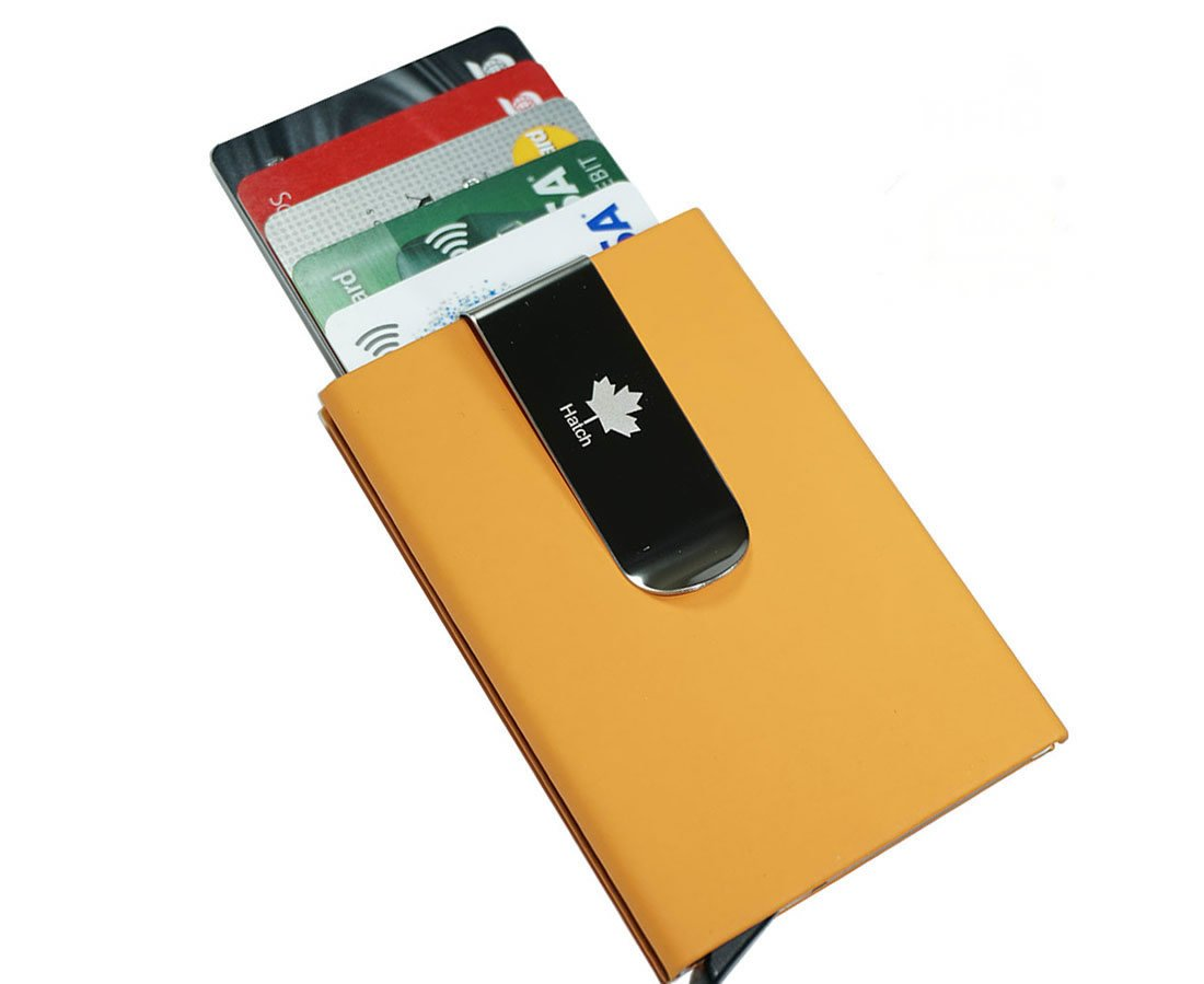 Credit Card Holder RFID Blocking Aluminum & Leather (PU) Money Clip Pop-up Metal Wallet (Yellow) WCrafts