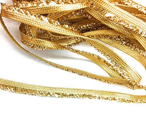 Gold Flat Braid - Gold Metallic Flat Braid Fringe 10 Yards 1/4'' Inch (7mm) Wide