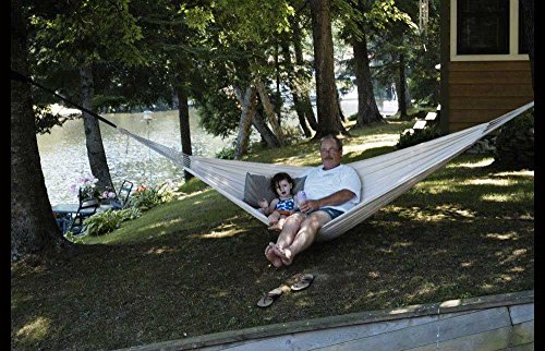 Hammock Sky Brazilian Double Hammock – Two Person Bed for Backyard, Porch, Outdoor and Indoor Use – Soft Woven Cotton Fabric for Supreme Comfort (Natural)