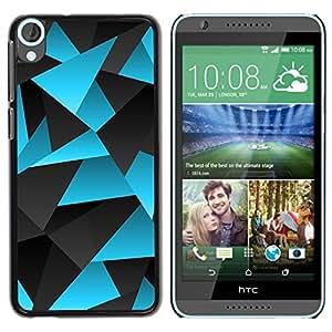 Polígono Azul Gris Líneas Patrón de carbono- Metal de aluminio y de plástico duro Caja del teléfono - Negro - HTC Desire 820