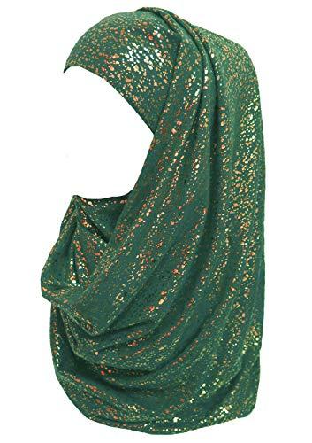 Lina & Lily Gold Glitter Plain Color Hijab Muslim Head Wrap Scarf Shawl (Dark Teal)