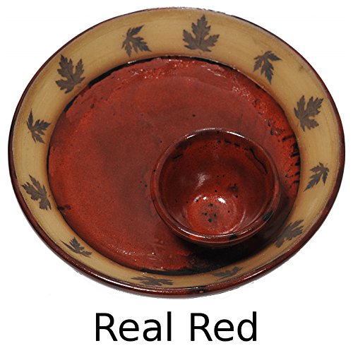 Maple Leaf Chip and Dip Bowl with Real Red Glaze