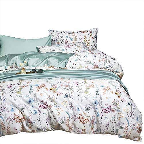 Wake In Cloud - Botanical Duvet Cover Set, Cotton Sateen Bedding, Colorful Watercolor Floral Flowers Pattern Printed on White (3pcs, Queen Size)