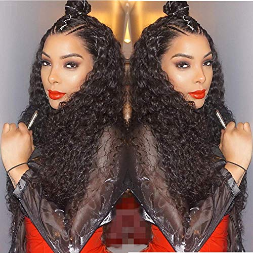 (Curly Lace Front Wigs Human Hair Wigs With Baby Hair Water Wave Wigs 100 Real Brazilian Virgin Hair Free Part Long Curly Wigs For Black Women 18 Inch Wig Natural Color)