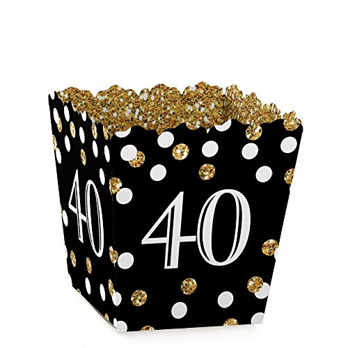 (Adult 40th Birthday - Gold - Party Mini Favor Boxes - Birthday Party Treat Candy Boxes - Set of 12)