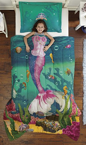 Dream Big Sea Princess Ultra Soft Microfiber 2-Piece Comforter Sham Set, Teal, - Decor Mermaids