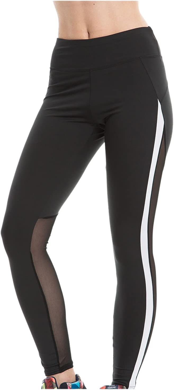 Monzocha Yoga Leggings for Women Athletic Pants Mesh Patchwork Activewear Black L