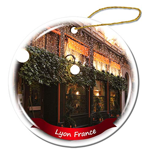 Fhdang Decor Lyon France Christmas Ornament Porcelain Double-Sided Ceramic Ornament,3 Inches (Christmas Lyon France Ornaments)