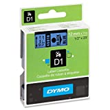 Dymo DYM45016 LabelWriter DUO D1 Label Tape, 1/2'' x 23 ft, Black on Blue