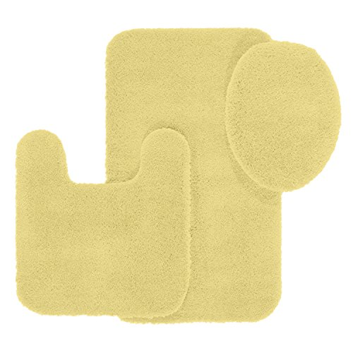 Set In Ice - Maples Rugs Bathroom Rugs Set -Cloud Bath 3pc Washable Non Slip Bath Mats and Rug Sets [Made in USA] for Kitchen, Shower, and Toilet, Lemon Ice