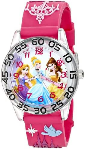 Disney Kids' W001513 Disney Princess 3D Plastic Watch, Peach 3D Strap, W001513 Analog Display Analog Quartz Rose Gold Watch
