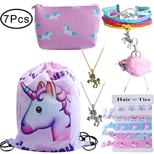 Standie 7PCS Drawstring Backpack for Unicorn Gift for Girls Include Makeup Bag Bracelet Necklace Set Hair Ties for Unicorn Party Favors