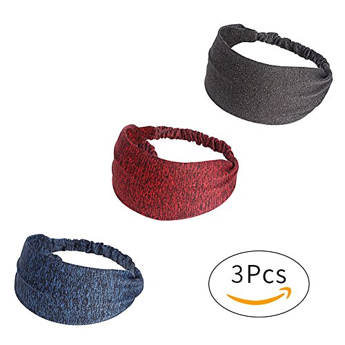 HADM Women Wide Sports Yoga Turban Headband Stretch Hairband Elastic Hair Band Boho Head (Hippie Hairstyles For Halloween)