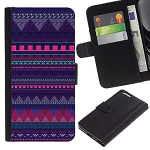KLONGSHOP // Tirón de la caja Cartera de cuero con ranuras para tarjetas - modelo púrpura líneas poligonales chevron - Apple Iphone 6 PLUS 5.5 //