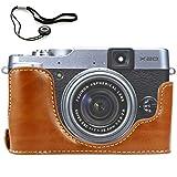 First2savvv XJPT-X20-D09 Brown Leather Half Camera Case Bag Cover base for Fuji FujiFilm Finepix X20.X10 + camera lens cap keeper