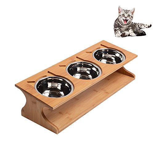 Petacc Durable Pet Bowl Stainless Steel Cat Dish Eco-friendly Dog Feeder with 3 Pet Bowls and 1 Wooden Holder