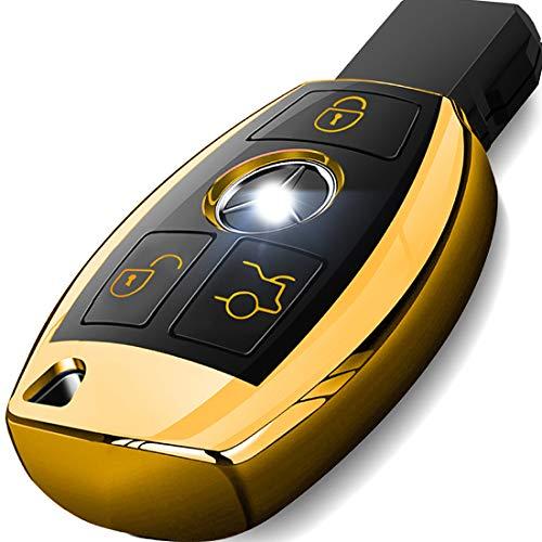 [해외]메르세데스 벤츠 키 포브 커버 프리미엄 소프트 TPU 키 케이스 커버 메르세데스 벤츠 C E S M CLS CLK G 클래스 키리스 스마트 키 Fob_Gold 색상과 호환 / Intermerge for Mercedes Benz Key Fob Cover Premium Soft TPU Key Case Cover Compatible ...