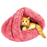 Cat Cave Bed Soft Fleece Cat Sleeping Bag for Cat Puppy Rabbit Small Animals,Pink For Sale