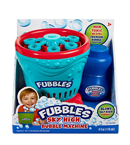 Little Kids Fubbles Blow Tons of Sky High Bubbles Party Machine for Kids & Includes Bubble Solution, Blue/Red (No Spill Bubble Machine)