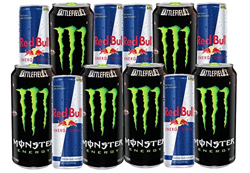 Drink: Monster 16 fl oz and Redbull 8.4 fl oz (12 Count) Variety Pack with original flavor (86 mg of caffeine in 1 serving of Monster) (Original Bulls Balls)