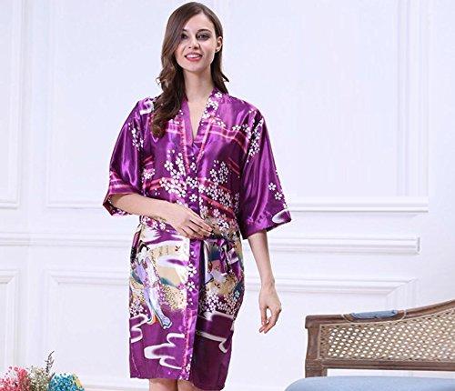 LJ&L La Sra seda del verano de la manga de baño pijamas de seda de gran tamaño chándal sola camisón,green,L Purple