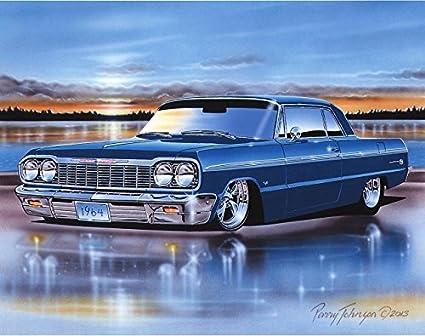 1964 Chevy Impala SS Hardtop Muscle Car Art Print Blue 11x14 Poster