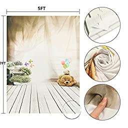 MOHOO 5x7ft Cotton Polyester Bear Ballon Children Wooden Floor Photography Backdrops Photo Props Studio Background Collapsible and Washable Backdrop Studio Props (Updated Material)No Wrinkle 1.6mx2.1m
