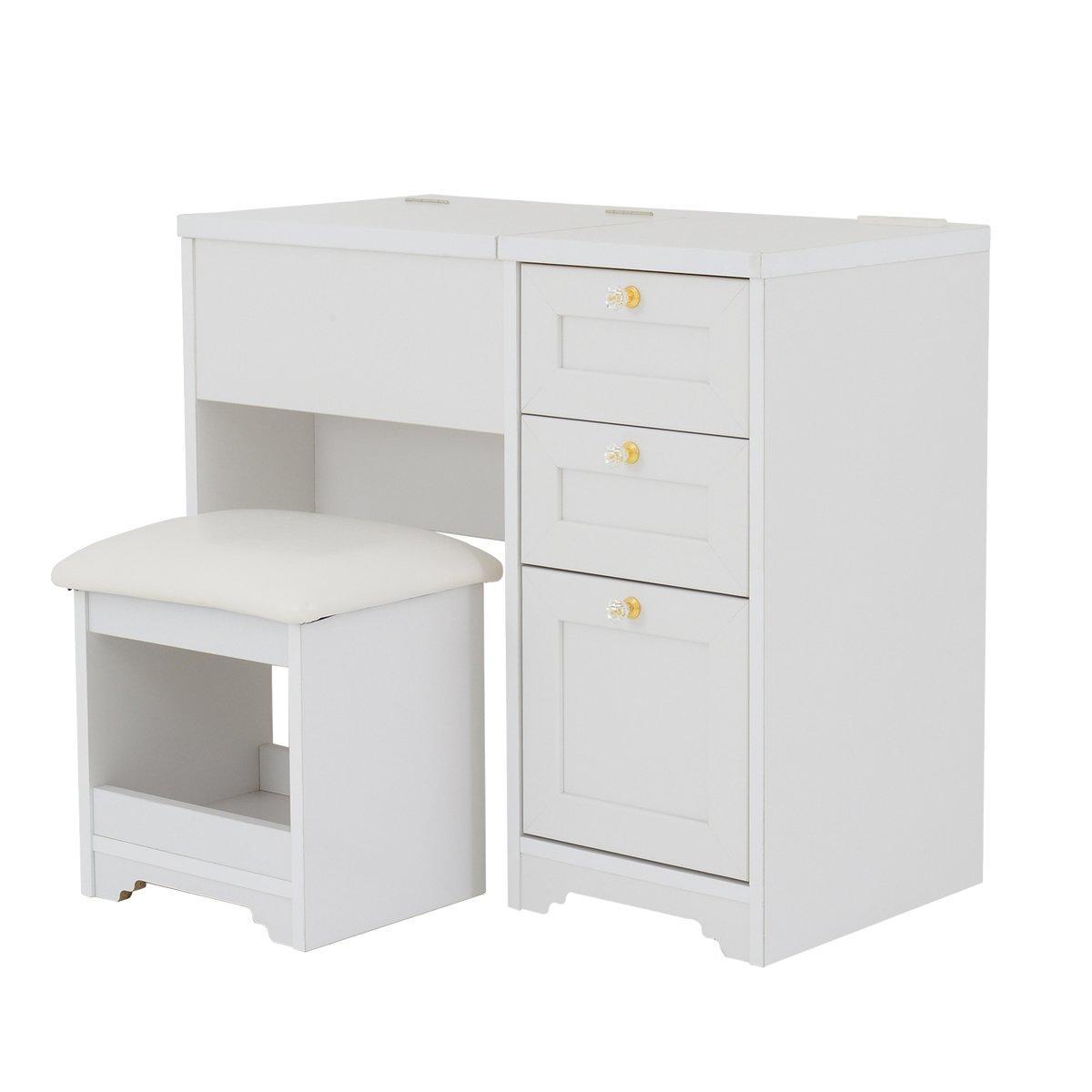 ホワイト/Anri Desk Dresser アンリ デスクドレッサー 幅80 デスク ドレッサー キャビネット 収納 引出し 化粧 化粧台 北欧 シンプル アンティーク おしゃれ ホワイト B00A4ASGHU ホワイト