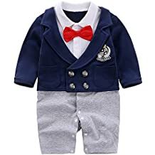 Yierying Baby Newborn Boy's Gentleman Romper with Bow Tie
