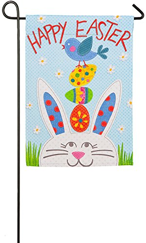 Evergreen Happy Easter Bunny Suede Garden Flag, 12.5 x 18 in