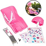 Ride Along Dolly Pink Doll Bike Seat and Helmet for American Girl and 18 in Dolls - Both w Decorate Yourself Decals for DIY Kids Bike Accessories