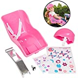 Pink Doll Bike Seat and Helmet for American Girl and 18 in Dolls - Both w Decorate Yourself Decals for DIY Kids Bike Accessories