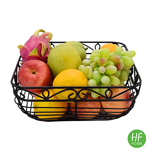Metal Wire Countertop Fruit Storage Basket Stand for Kitchen, Large Hemisphere Black Decorative Table Centerpiece Holder for Bread, Candy, K Cup and Other Household Items