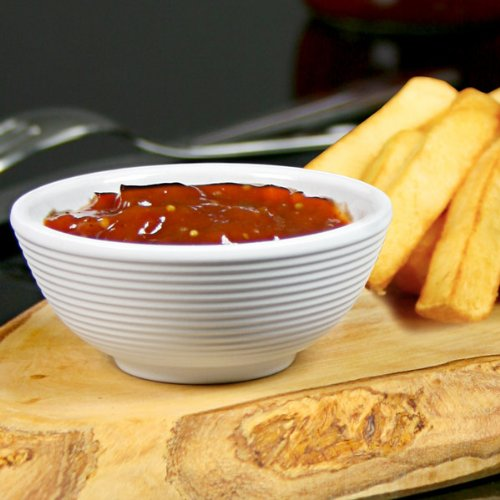 TableCraft Melamine Ribbed Ramekin White 2oz   Condiment Pots, Sauce Ramekins, Dip Bowls, Ramekins