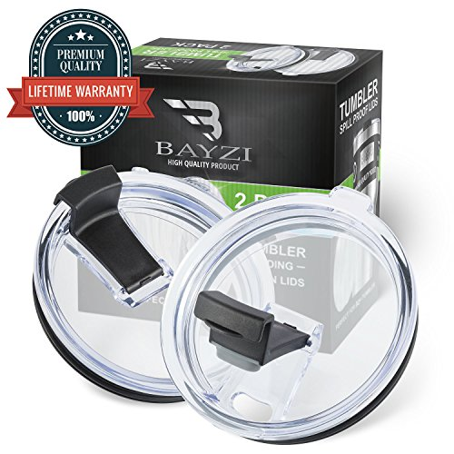 2 NEW 30 oz SPILL PROOF Yeti Lids and Rtic Lids NO LEAK & Splash resistant Vacuum Replacement Black Locking Closure 2 Lids for Tumbler, Fits Ozark Lids Open / Close, Straw Friendly by BAYZI