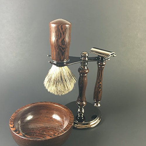 Men's Shaving Set Hand-crafted from Wenge by Always Turning Woodworks