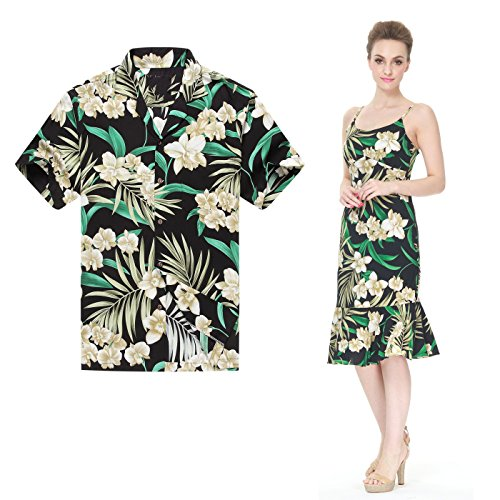 Made In Hawaii Premium Couple Matching Luau Aloha Shirt Dress Floral Green Black XL-L by Hawaii Hangover