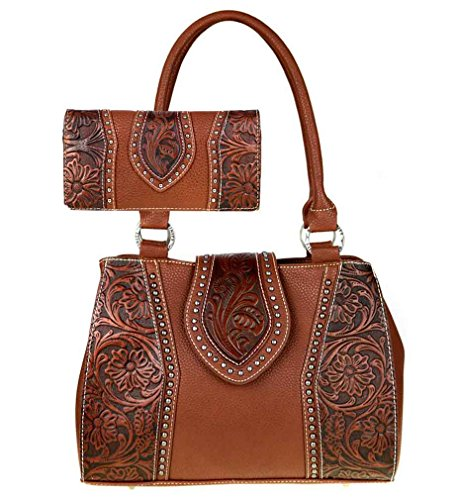 trinity-ranch-tooled-leather-collection-concealed-handgun-purse-and-wallet-set-brown