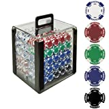 Trademark Poker 1000 Holdem Poker Chip Set with Acrylic Carrier, 11.5gm