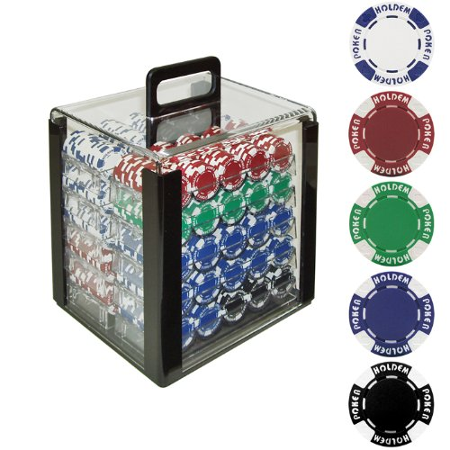Trademark Poker 1000 Holdem Poker Chip Set with Acrylic Carrier, 11.5gm by Trademark Poker