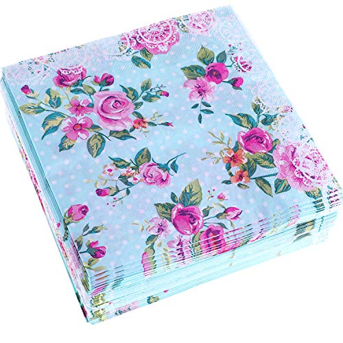 Chengu 80 Packs Floral Paper Napkins Disposable Flower Cocktail Napkins for Lunch Tea Party Birthday Wedding Supplies
