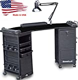M602 Manicure Nail Table Double Lockable Cabinet Black top by Dina Meri