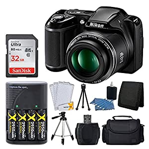 "Nikon COOLPIX L340 20.2 MP Digital Camera (Black) + AA Batteries & Charger + 32GB SDHC Memory Card + 50"" Quality Tripod + Camera/Video Case - Full Value Bundle - International Version (No Warranty)"