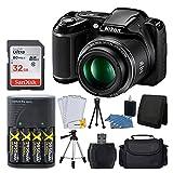 Nikon COOLPIX L340 20.2 MP Digital Camera (Black) + AA Batteries & Charger + 32GB SDHC Memory Card + 50'' Quality Tripod + Camera/Video Case - Full Value Bundle - International Version (No Warranty)