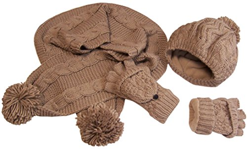 N'Ice Caps Womens Bulky Cable Knit Hat/Scarf/Converter Glove Set (Womens one size fits all, Khaki ()