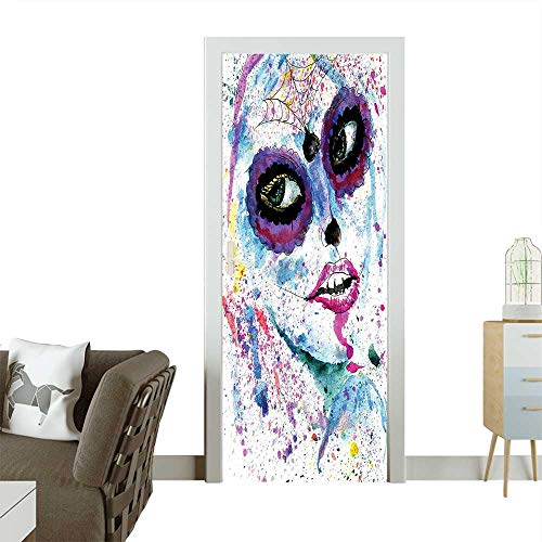 Homesonne Door Art Sticker Halloween Lady with Sugar Skull Make Up Creepy Dead Face Gothic Woman Room decorationW17.1 x H78.7 INCH -